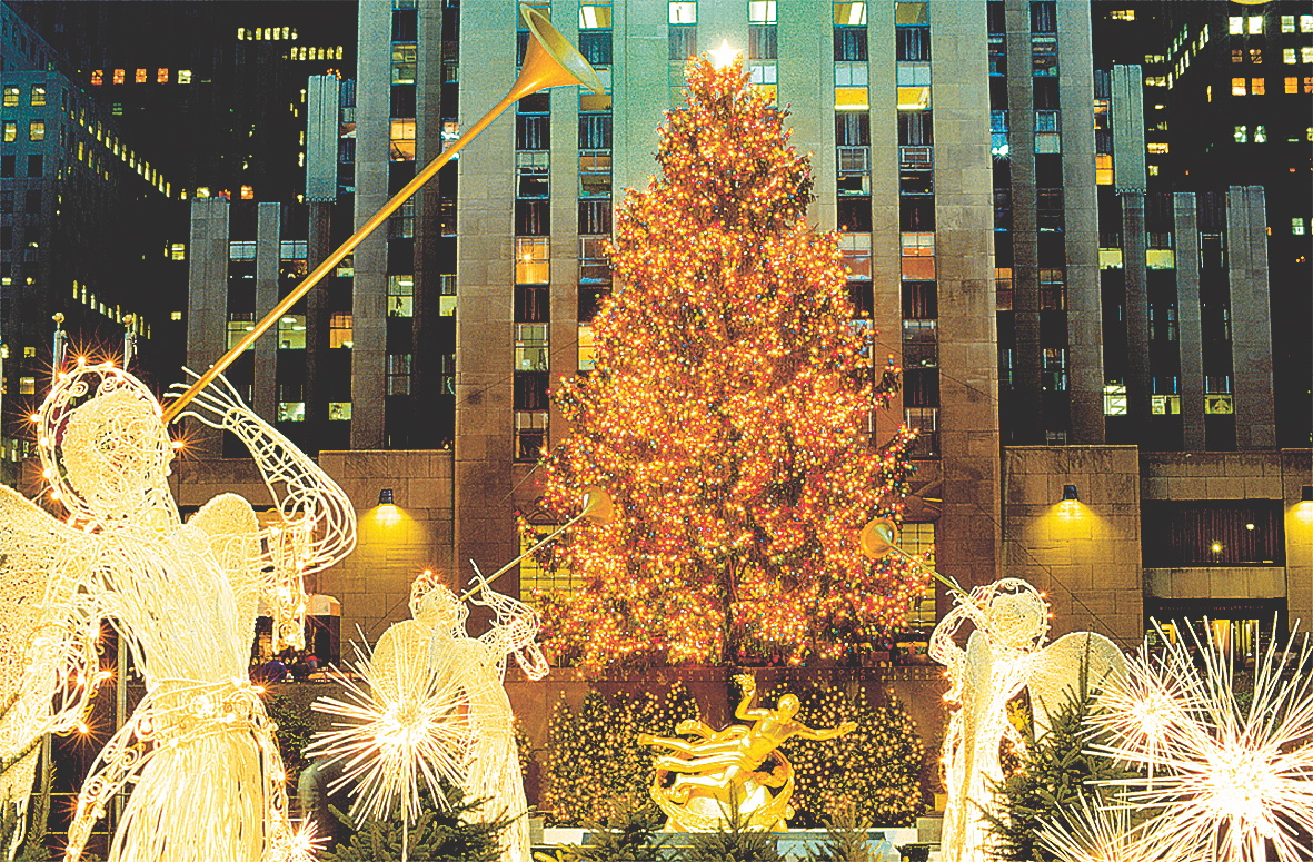 weihnachtsbaum am rockefeller center new york. Black Bedroom Furniture Sets. Home Design Ideas